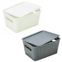 Plastic Basket Storage Stackable Organizer Container with Lid For Home Office AU
