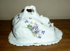 VINTAGE BAVARIAN LARGE COVERED CHEESE DISH PLATE - SCALLOPED VIOLETS w/GILT