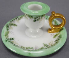T & V Limoges Hand Painted Signed LMQ Green Vines Candle / Chamber Stick 1906