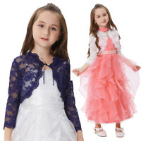 Girl Kids Lace Bolero Shrug Front Open Top Cardigan Party Wedding Dress Cover Up