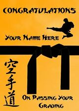 Karate Judo Taekwondo Grading Black Belt Congratulations Personalised Card PDS62