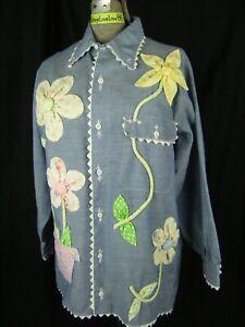Vtg 60-70s Denim Blue Women Blouse w/Mod Floral Patched-Bust 45/L