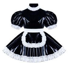 Deluxe vestido barniz satén PVC cuello alto Sissy bondage Maid massgefertigt (mszk 195)