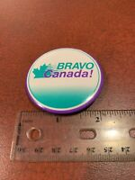 Vintage 1980's Aesthetic BRAVO CANADA Pin Button FREE SHIPPING