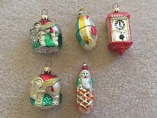 Vintage LOT 5 MERCURY GLASS GLITTER DIORAMA CHRISTMAS ORNAMENTS  Spun Japan