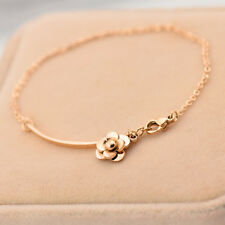 14K Rose Gold Stainless Steel Camellia Charm Womens Chain Bracelet Jewelry Gift