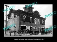 OLD LARGE HISTORIC PHOTO OF PONTIAC MCIHIGAN THE FIRE DEPARTMENT STATION c1897