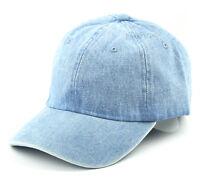 New Mens Womens Denim Plain Baseball Hat Adjustable Cotton Sports Cap Light Blue