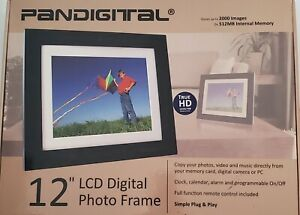 "Pandigital 12"" LCD Digital Black Wood Photo Frame w/ Remote. Programmable Clock"