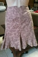 "ALANNAH HILL BROWN CORDUROY ""VODKA AND TEARS"" SKIRT WITH SEQUINS BEAD SIZE 12."