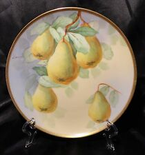 "Vintage Coronet Limoges France Hand Painted 8 3/4"" Pears Plate Artist Signed"