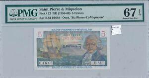 Saint Pierre & Miquelon 1950 5 Francs PMG 67EPQ #22 finest known combine PM0081