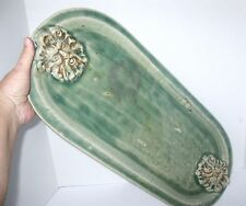 Heavy Oval CELADON GREEN Zeus Greek God Stone Face Candle or Plant Drip Plate