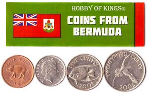4 BERMUDIAN STATES COIN DIFFER COLLECTIBLE COINS BRITISH ISLAND FOREIGN CURRENCY
