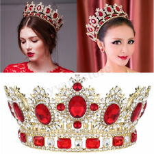 """6.7"""" Wide Large Ruby Red Crystal Gold King Crown Wedding Prom Party Pageant"""
