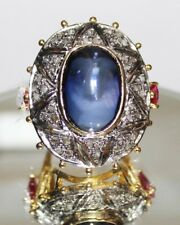 1.05ct ROSE CUT DIAMOND RUBY SAPPHIRE VICTORIAN LOOK 925 SILVER COCKTAIL RING