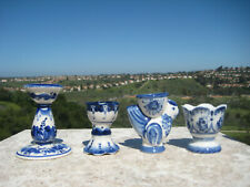 RUSSIAN GZHEL BLUE WHITE PORCELAIN HAND PAINTED EGG CUP HOLDER LOT OF 4