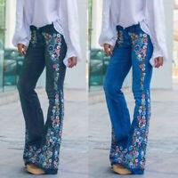 US Women Floral Denim Jeans Ladies High-Waist Bell-bottom Wide Leg Street Pants