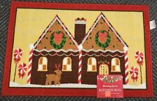 "PRINTED KITCHEN RUG (nonskid) (17"" x 27"") CHRISTMAS, GINGER HOUSE, rect., by HS"