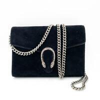 $1350 Gucci Chain Wallet Dionysus Mini Black Suede Shoulder Bag