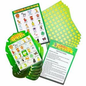 36 Pack Safari Jungle Party Bingo Game Cards Set for Kids Birthday Baby Shower