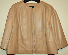 LADIES M&S AUTOGRAPH GENUINE LUXURY LEATHER BOX STYLE JACKET SIZE 16 TAN BNWT