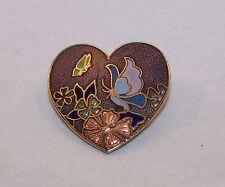 Vintage Purple Enamel Cloisonne Butterflies Heart Scatter Pin Brooch