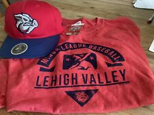 New Majestic Red Lehigh Valley Iron Pigs XL T- Shirt And New Adjustable  Hat