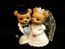 """Homco #1424 Bear Bride & Groom Wedding Shower Cake Topper 3.75"""""""