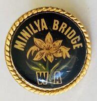 Minilya Bridge Western Australia Flower Design Souvenir Badge Pin Vintage (F11)