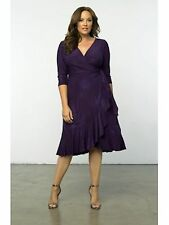 LANE BRYANT PLUS SIZE WHIMSY WRAP DRESS BY KIYONNA 18/20 PURPLE