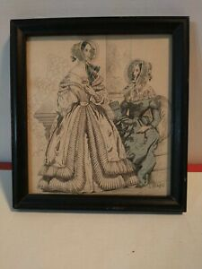 Vintage Print,COLOR PLATE,Fashion,Godeys Ladys Book,1840 Framed