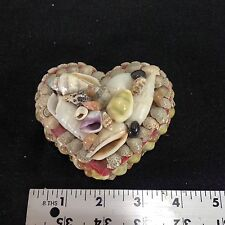 Vintage Sea Shell Heart Box Jewelry Box With Red Felt Interior