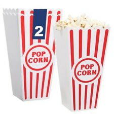 (4pc) Reusable Plastic Popcorn Bowl Tub Container Movie Theater Bucket Brand New