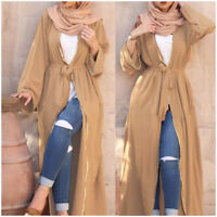 Women's Abaya Muslim Long Maxi Party Dress Open Front Dubai Kaftan Cardigan Robe