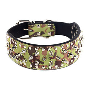 """2"""" CAMOUFLAGE Metal Spiked Studded Leather Dog Collar Pit Bull Rivets L XL"""