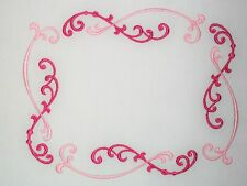 Pink Quilt label pretty scrolled filigree theme machine embroidery to customize