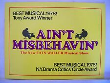 AIN'T MISBEHAVIN Souvenir Program FATS WALLER Tour BOWERS / FREEMAN / PRYMUS `79