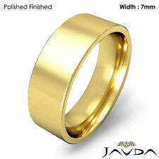 Men Wedding Band Comfort Fit Pipe Cut Ring 7mm 18k Yellow Gold 11.1g 11-11.75