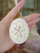 REAL Duck/Goose Egg Carved/Decorated Christmas Tree Holiday Ornament Hibiscus