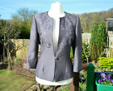 Jacques Vert grey blazer jacket with peach satin lining & 3/4 length sleeves 14