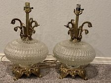 1970's EF & EF Industries Vintage Mid Century Round Cut Glass 2 Lamps