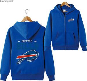 Buffalo Bills Men Zip Up Lightfleece Hoodie Pocket Hooded Jacket Sweatshirt Tops