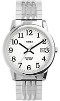 Timex TW2U09000, Easy Reader, Men's, Silvertone Expansion, Indiglo, Date NWT