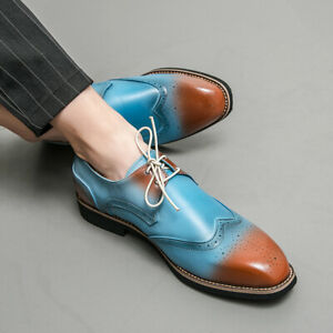Mens Carved Pointed Toe Lace Up Casual Business Oxford Formal Brogue Party Shoes