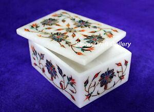 "4"" x 3"" Marble Jewelry Box Semi Precious Stones Handmade Inlay Art Work"