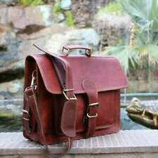 'Men's Real Goat Leather Vintage Brown Messenger Shoulder Laptop Bag Briefcase'