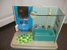 """vintage metal bathroom with tub and sink, perfect for 8"""" dolls"""