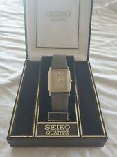 "Vintage Seiko Quartz Dress Watch ""Tank"" Style with Royal Lizard Leather Strap."
