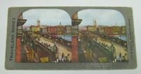 OLD LONDON BRIDGE THAMES RIVER LONDON ENGLAND STEREOSCOPE STEREOVIEW CARD *NOAG